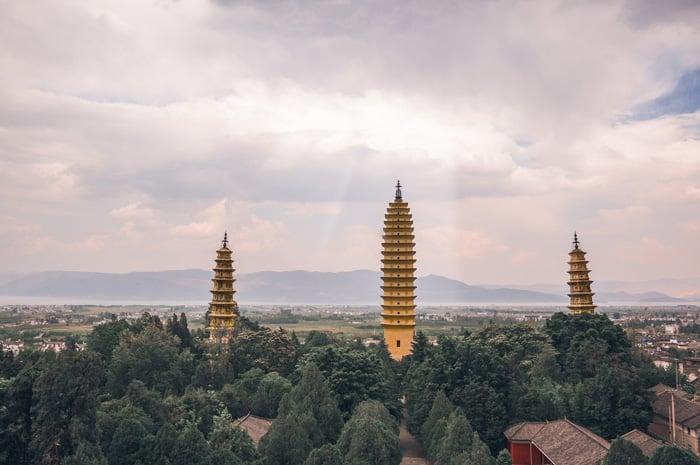 The Three Pagodas in China